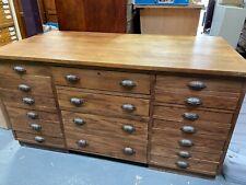 More details for large haberdashery oak aysemetrical bank of 17  drawers vintage retro