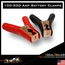2pcs 200AMP Heavy Duty Battery Alligator Clip Clamps Copper Insulated Red/Black