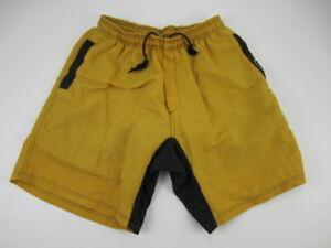 Mens Large No Fear yellow baggy padded cycling MTB Mountain Biking Shorts VTG