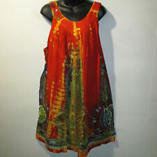Dress Fit L XL 1X 2X 3X Plus Sundress Orange Blue Dashiki Print A Shaped NWT 125