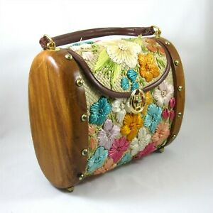 Cabana Floral Raffia Woven Straw Bag Purse Wood Ends Vintage 1960s Philippines