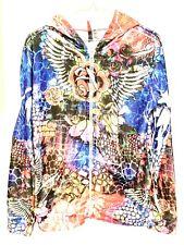 New listing DNLA Sport Womens Graffiti Hoodie Jacket Zip Front Long Sleeve XL