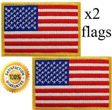 "USA AMERICAN FLAG EMBROIDERED PATCH IRON-ON / SEW-ON GOLD BORDER (1 3/4 x 2¼"")"