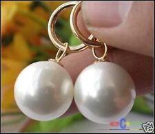 beeindruckende 14mm weiß Sea Shell Perle Hochzeit Partei Schmuck Ohrringe