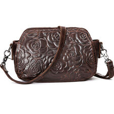 Genuine Leather Women Floral Messenger Shoulder Crossbody Hobo Bag Purse Handbag