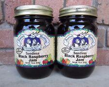 TWO Amish Wedding Foods Black Raspberry Seedless Jam 18 oz Glass Jars