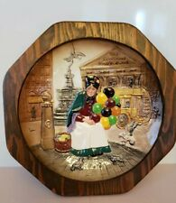 "Vintage 1979 Royal Doulton Plate #D6649 The Old Balloon Seller 10"" wood frame"