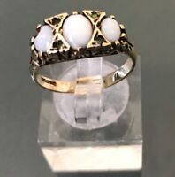 Women's Vintage 9ct Gold Opal & Sapphire Stone Ring Weight 1.59g Size N Stamped