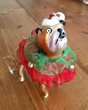 Glass Blown Brown Bulldog Pug with Santa Hat Bell Collar Christmas Ornament