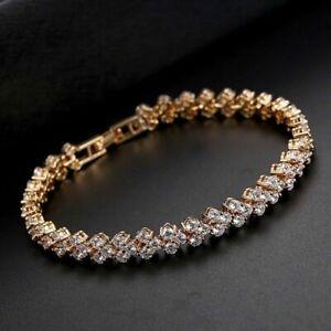 Womens Swarovski Elements Crystal Bracelet Bangle Heart Shape Rose Gold New