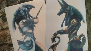 ANUBIS + HORUS GUARD Stargate Art Prints x2 Ready for framing ANCIENT EGYPT