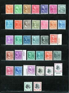 US 803-834 mint VF NH Prexy set with extra shades, CV $206.85