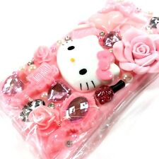 Hello Kitty Pink Galaxy S5 Phone Case Bling Hearts Bow Flowers Pearls Jewels New