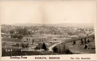 Hermann Missouri~Sectional Town View~Birdseye Panorama~Homes~Roads~1940s RPPC