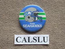 "VINTAGE 1980's ☆RARE☆ SEATTLE SEAHAWKS ☆HELMET☆ 3 1/2"" PIN BACK BUTTON"