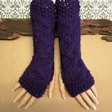 Fingerless Gloves, Purple Wrist Warmers, Cabled Arm Warmer, Womens Chunky