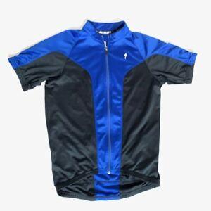 Specialized Mens M Cycling Jersey Short Sleeve blue black Full Zip Biking Shirt