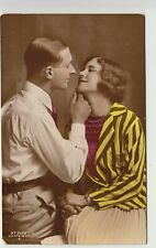1910s Couple Lovers Kiss England Glamor Manchester Vintage Postcard