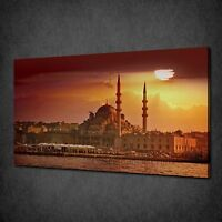 ISTANBUL SULTAN AHMED MOSQUE SUNSET SKYLINE BOX CANVAS PRINT WALL ART PICTURE