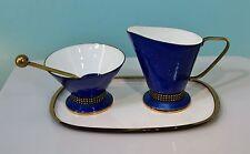 A.G. Bunge Sahne Set Zucker Milch auf Tablett Rockebilly in blau - 16652 -
