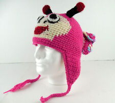 Himalaya Native Creations Hand Made Beanie Hat Pink Purple Bug Monster 100% Wool