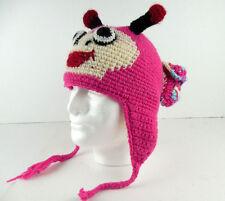 Himalaya Native Creations Hand Made Beanie Hat Pink Purple Bug Monster 100% Wool