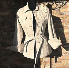 Lucky Brand Khaki Button Down Tie Waist Jacket Size Small