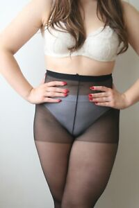 Vintage M&S MATT 100% Nylon Schoolgirl 15 Denier Pantyhose Tights Black Medium