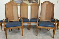 Set of (6) Vintage DREXEL FURNITURE Cane Back Dining Chairs With Vinyl Seats