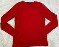 LAUREN RALPH LAUREN Women's Size XL Red Long Sleeve Henley Shirt  Crew Neck EUC
