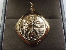 9ct Solid Gold St Christopher - Double Sided Unusual Pendant 5 grams