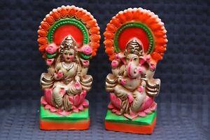 LAXMI GANESH LAKSHMI GANESHA HANDMADE STATUE ON LOTUS HINDU GOD DIWALI Puja