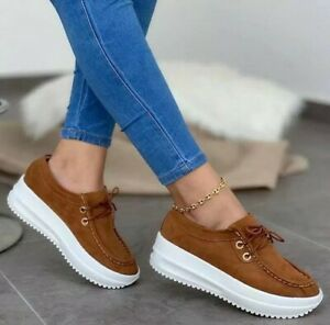 Women's Wedge Trainers Round Toe Lace up Casual Fitness Shoes Sneakers