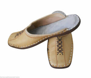 Men Slippers Open Mojari Indian Leather Flip-Flops Clogs New Camel Jutti US 7