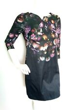 TED BAKER Atieno black bold floral print dress size 1 UK8 --USED ONCE-3/4sleeve