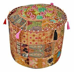 Indian Top quality Handmade Moroccan Leather Pouf Ottoman Footstool