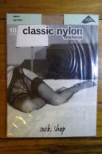 Sock Shop 10 Denier Classic Nylon Lace Top Stockings S Natural