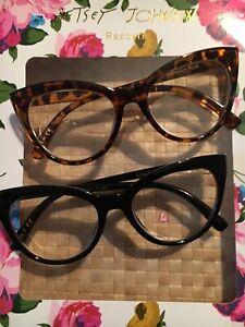 NEW 2 Pairs +2.00 Betsey Johnson Reading Glasses Oversize CAT EYE Readers