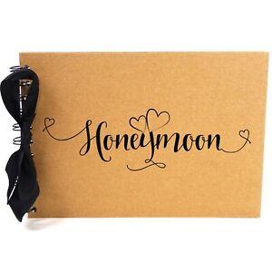 Ribbon, Honeymoon, Photo Album, Scrapbook, Blank White Pages, A5