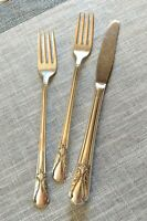 Wm Rogers Original Rogers Silverplate Avalon Cabin 1940 Knife & 2 Grill Forks