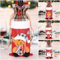 Christmas Wine Bottle Cover Teddy Bear Reindeer Santa Snowman Xmas Gift Stocking