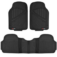 Motor Trend FlexTough 3pc Rubber Floor Mats - Thick Heavy Duty All Weather Black