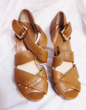 "MICHAEL KORS Strappy Peep Toe Platform 4.5"" High Heels Sz 7 M Tan Leather Upper"