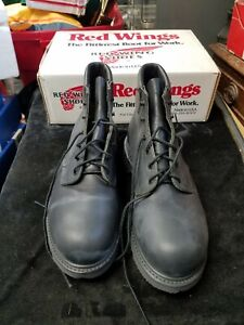 Vintage Red Wing USA Made Dark Brown Boots Aquatred Chem 60 Soles Good Year 6.5D
