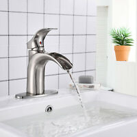 """Bathroom Sink Single Handle Faucet Basin Mixer Tap +6""""Cover Plate Brushed Nickel"""