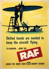 SKILLED HANDS NEEDED TO KEEP AIRCRAFT FLYING British WW2 Propaganda Poster R.A.F
