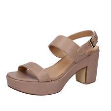 scarpe donna SHOCKS 38 EU sandali beige pelle BY399-C