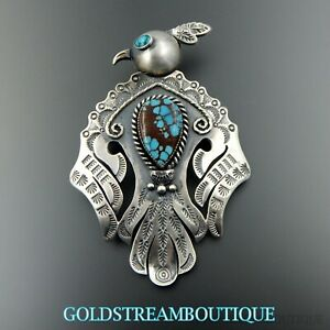 Handcrafted sterling silver turquoise stamped large thunderbird pin pendant