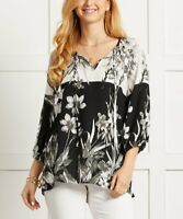 Suzanne Betro Women's 3/4 Sleeve Floral Contrast Notch Neck Tunic (Black, L)