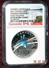 2017 CANADA $20 NATURES ADORNMENT NIOBIUM DRAGONFLY & SILVER COIN NGC PF70 UC ER